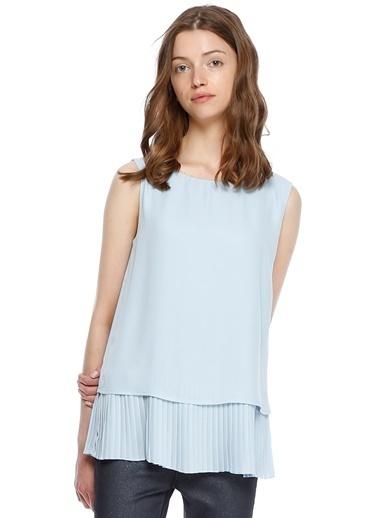 House Of Camellia Etek Ucu Fırfır Detaylı Bluz Mavi